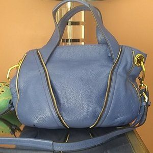 Blue leather satchel/crossbody